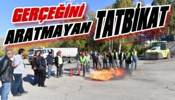 Yakutiye Belediyesi'nden Gerçeğini Aratmayan Tatbikat