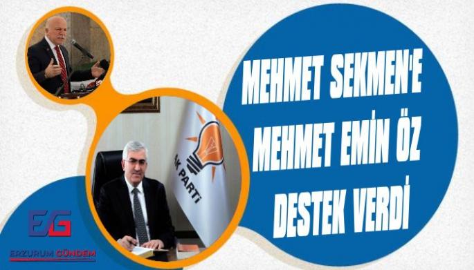 Mehmet Emin Öz'den, Mehmet Sekmen'e Destek